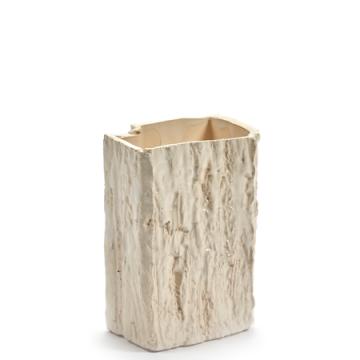 Vase Eucalyptus carré blanc à vendre au concept-store L'Échappée Belle à Quimperlé.